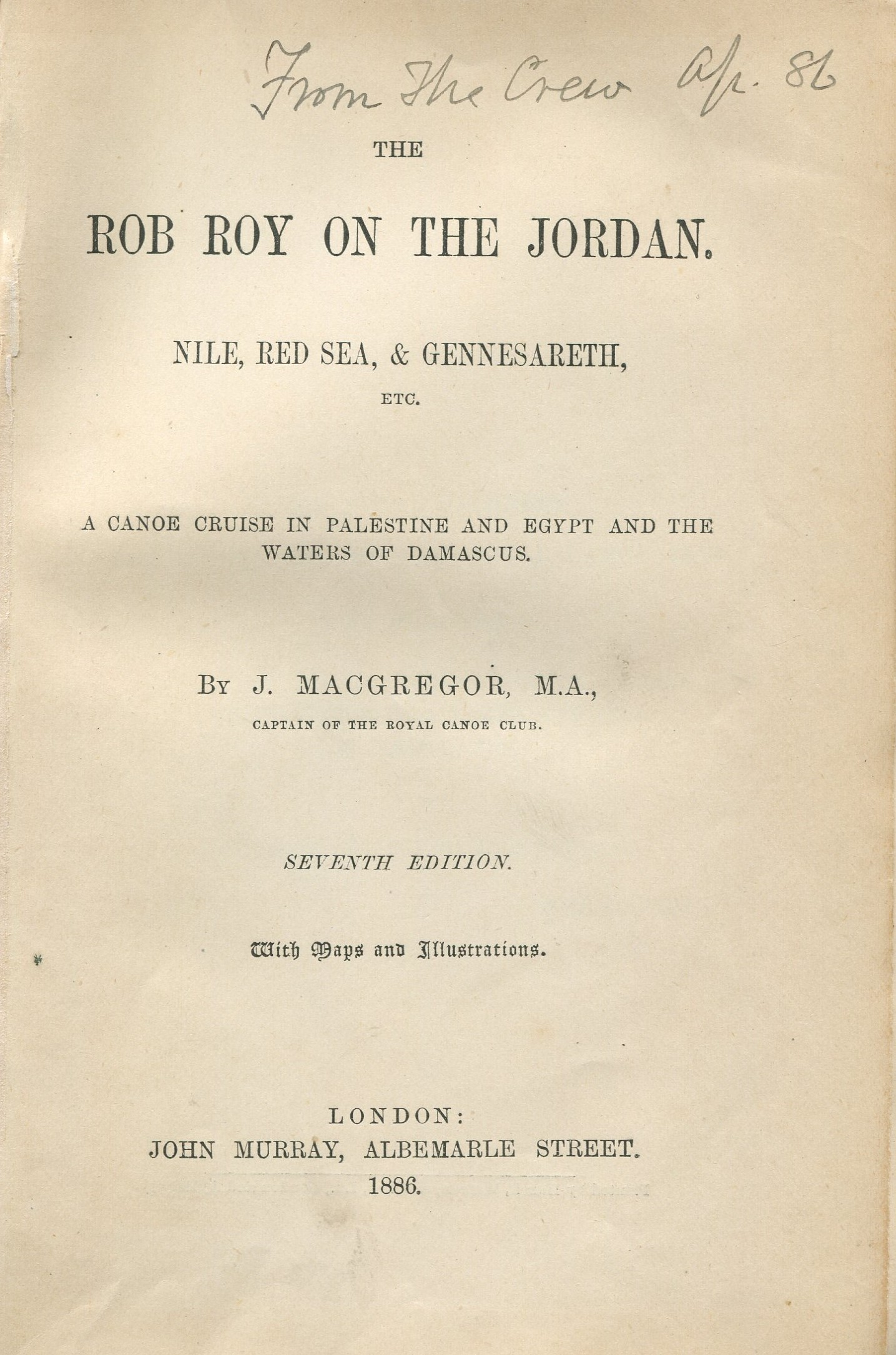 Rob Roy on the Jordan By MacGregor J. 1886